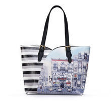 Creative Printing Women Stylish Tote Bag Large Capacity Cartoon Striped Shoulder Bag Black Brown PU Ladies Designer Hand Bag