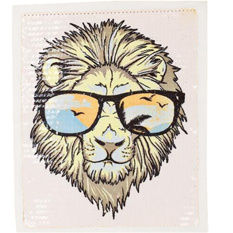 25cm color lion diy patch deal with it clothes iron on patches for clothing t shirt sequins stickers halloween christmas gifts