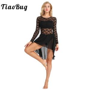 Image 1 - TiaoBug robe Tutu de Ballet en mousseline de soie à manches longues, avec motif Floral pour femme, Costumes de gymnastique et de danse lyrique