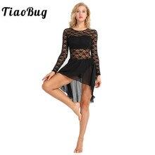 TiaoBug נשים פרחוני תחרה בלט בגד גוף ארוך שרוול שיפון בלט שמלת טוטו התעמלות בגד גוף שלב ריקוד לירי תחפושות