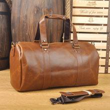 LAPOE Men Vintage Retro Leather Travel Bags Hand Luggage Overnight Bag  Fashionable Designers Large Duffle Bags Weekend Bag 9134b08dc819f