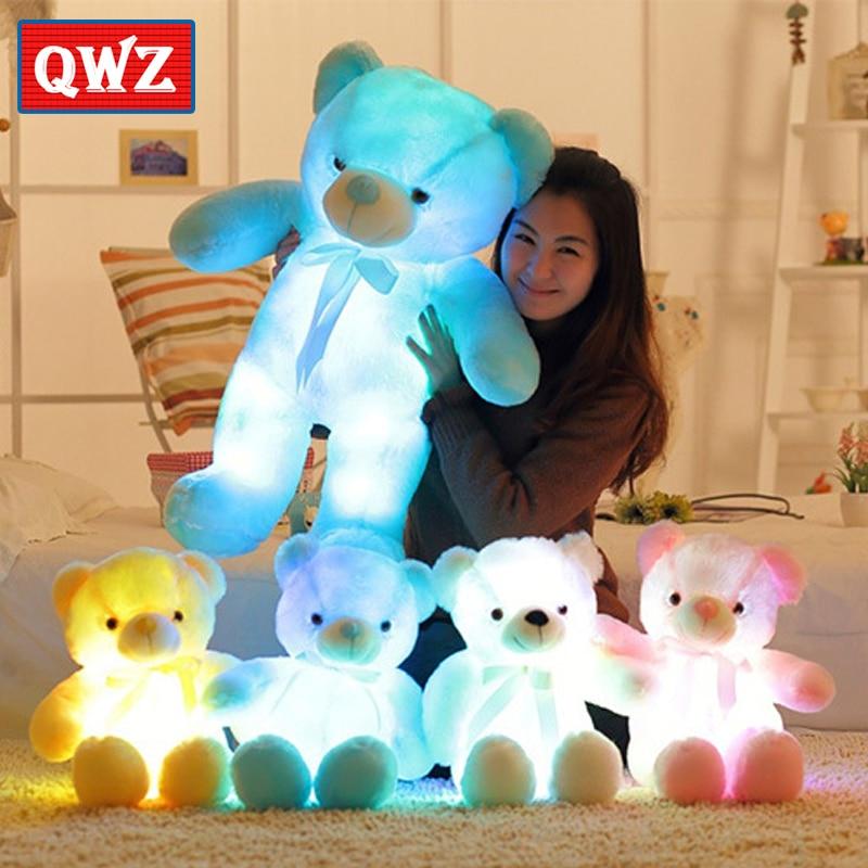 Goed Qwz 75 Cm/50 Cm Romantische Kleurrijke Flash Light Up Led Teddybeer Knuffel Pop Kinderen Speelgoed Kinderen Kerst Verjaardag Decoratie