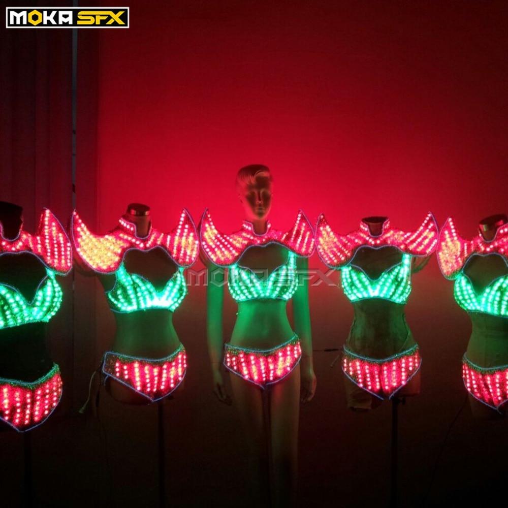 Luminous women costume led robot clothes Ladies bra luminous shorts Colorful LED light robot luminous suit for DJ Bar Stage showLuminous women costume led robot clothes Ladies bra luminous shorts Colorful LED light robot luminous suit for DJ Bar Stage show