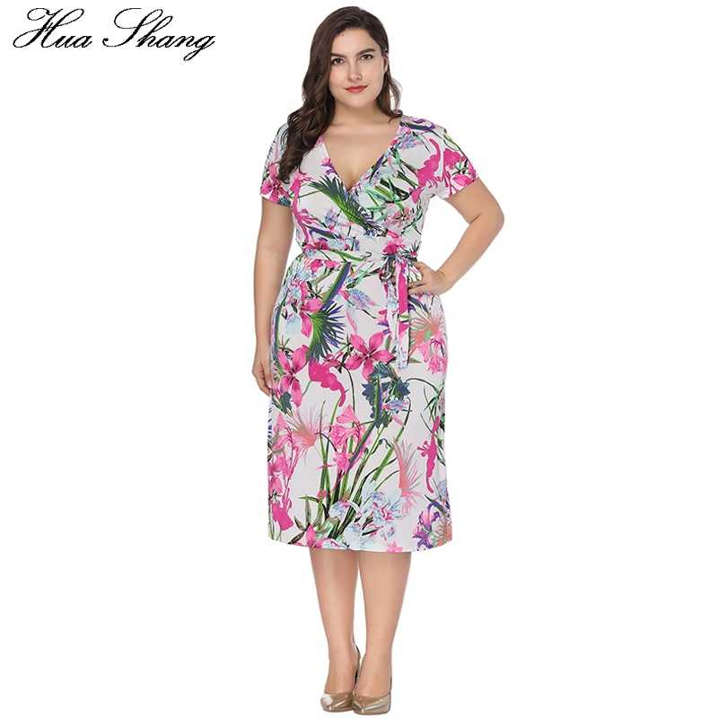 44d25d85c10 ... 2018 Fashion Women Summer Short Sleeve Dress 6XL Plus Size Women  Clothing V Neck Floral Print ...