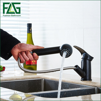 Kitchen Faucets Torneira Cozinha Brand High Quality Pull Out Spray Painting Black Deck Mounted Brass Sink