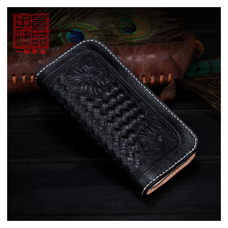 Unisex original retro leather carved long leather wallet First layer leather vegetable tanned leather large capacity multi-card