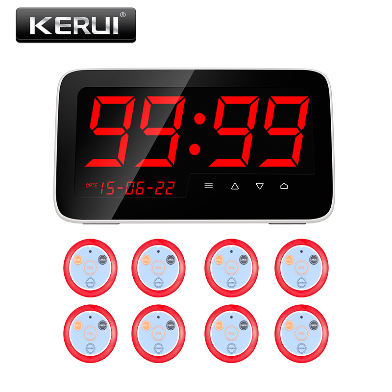 Kerui C1 Wireless Restaurant Calling System Table Call System with 8 Call pager Button Emergency Push Button wireless service call bell system popular in restaurant ce passed 433 92mhz full equipment watch pager 1 watch 7 call button