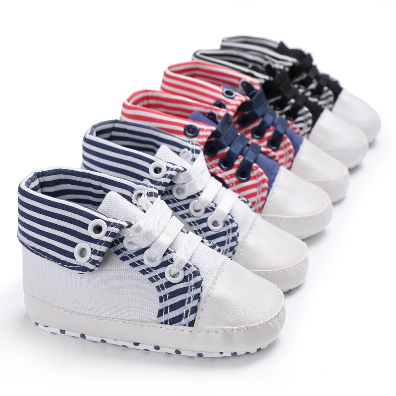 Baby Boy Girl Shoes Spring Gingham Newborn Soft Sole Casual Crib Toddler Shoes Lace-Up Shoes Non-slip Moccasins for First Walker