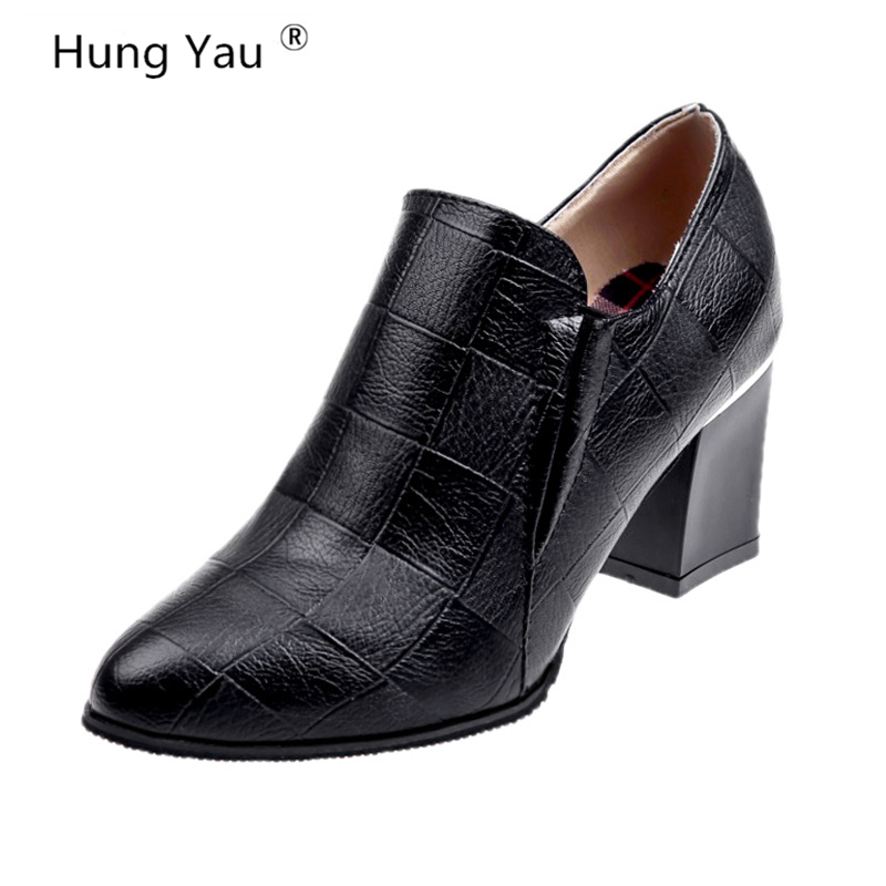 Hung Yau  Platform Chunky Heel Ankle Boots Women Spring Autumn Fashion Booties Woman Zip Leather Shoes Black Brown Size 34-39Hung Yau  Platform Chunky Heel Ankle Boots Women Spring Autumn Fashion Booties Woman Zip Leather Shoes Black Brown Size 34-39