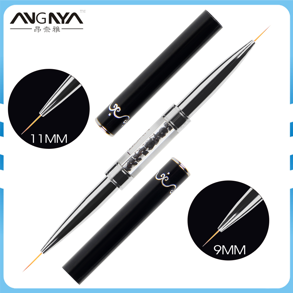 ANGNYA 1PC Double Head Nail Liner Brush 9/11mm Acrylic Nail Art Brushes Drawing Line Rhinestones Pen Nail Art Manicure Brush