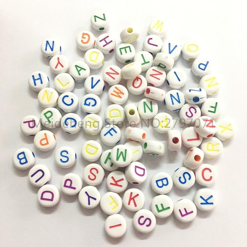 7mm Acrílico forma redonda letras contas para colar pulseira DIY - Bijuterias - Foto 5