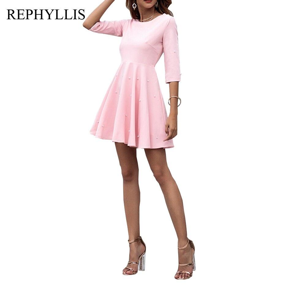 REPHYLLIS Ladies Pink Scoop Neck 1/2 Sleeve Swing Beading Dress Women Mini Fashion Party Elegant Work Dress