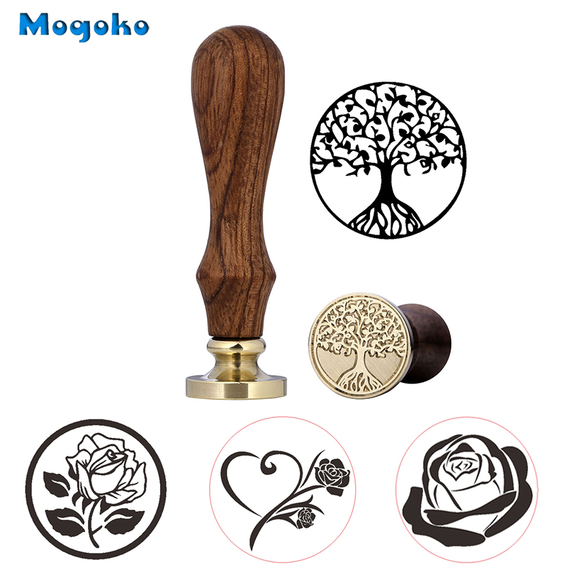 Mogoko 1x Wax Seal Stamp Retro Wood Classic Sealing Decorative Rose Tree Of Life Wedding Invitation Antique