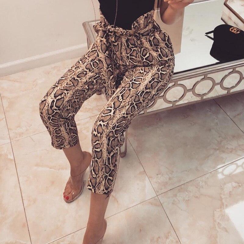 7Mang 2019 Spring Women Snake Print Pants Harajuku High Waist Ruffle Drawstring Trousers Elegant Loose Capri Pants 0120