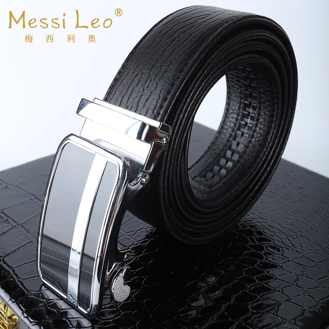 Messi Leo Man Belts Genuine Leather Belt Cowskin Automatic Buckle Fashion Casual Soild Belt For Men High Quality