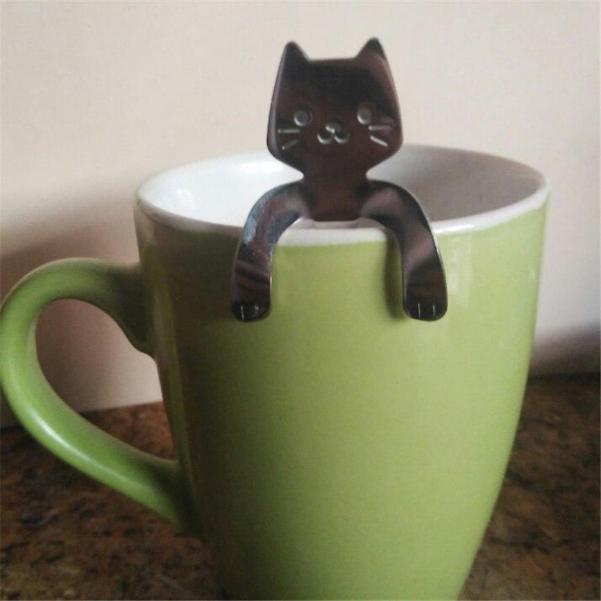Ложка для кошек, ложка с длинной ручкой, столовые приборы, кофейные приборы из нержавеющей стали, принадлежности для питья, чашка, креативная кофейная ложка