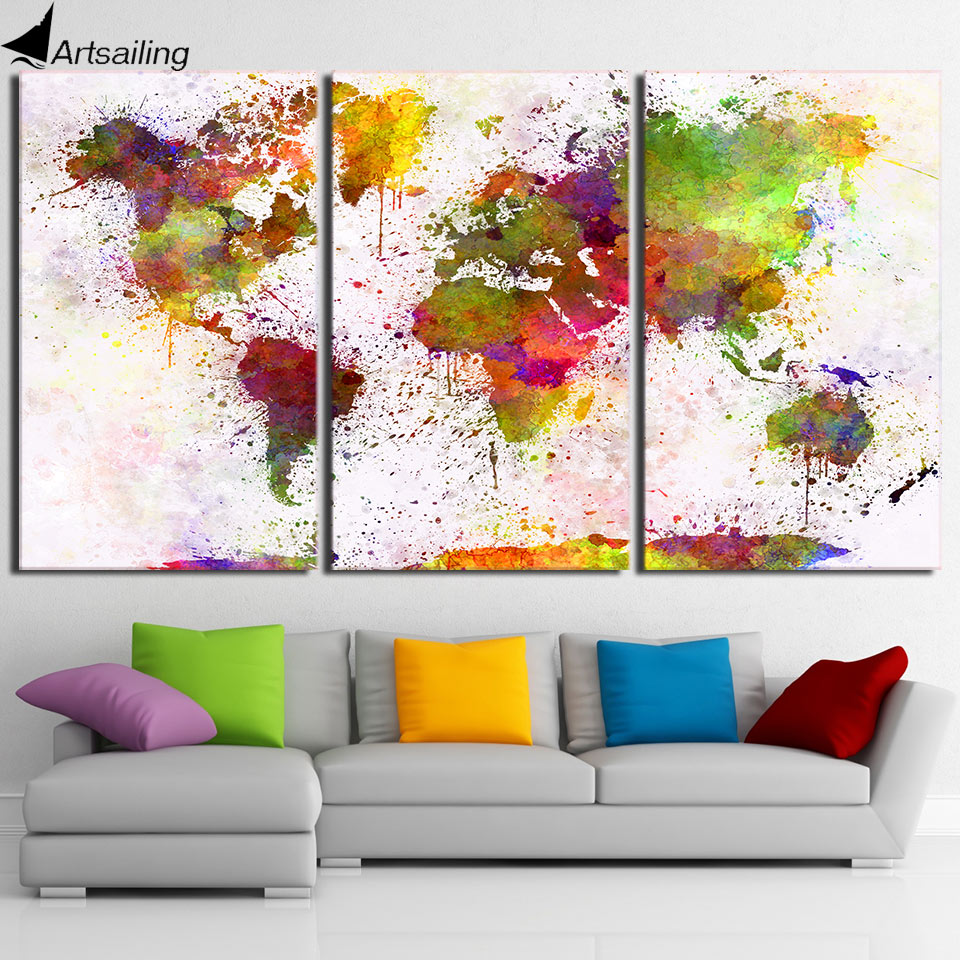 HD Printed 3 Piece Canvas Art Color World Map Painting Continent Wall Pictures for Living Room Decor Free Shipping NY-<font><b>7023D</b></font> image