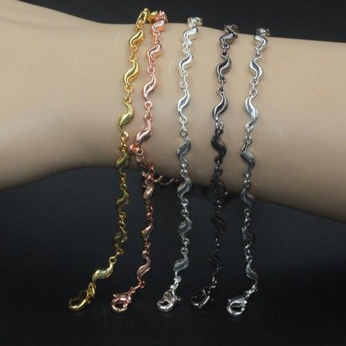 10 pcs Lot 25 cm De Cuivre Laiton avec Argent Or Noir couleur Vintage  Fantaisie Bracelet Bracelet BRICOLAGE À La Main bijoux Accessoires d9ba9c51670