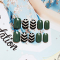 24pcs Fake Nail Decoration False Ongle Full Nails Tips Art Cool Black White Stripe Decal DIY Manicure Gift for Girls Lady Party