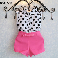 2016 New Summer Girls Clothing Sets Girl Baby Clothes Polka Dot Coat Pink Pants Baby Clothing