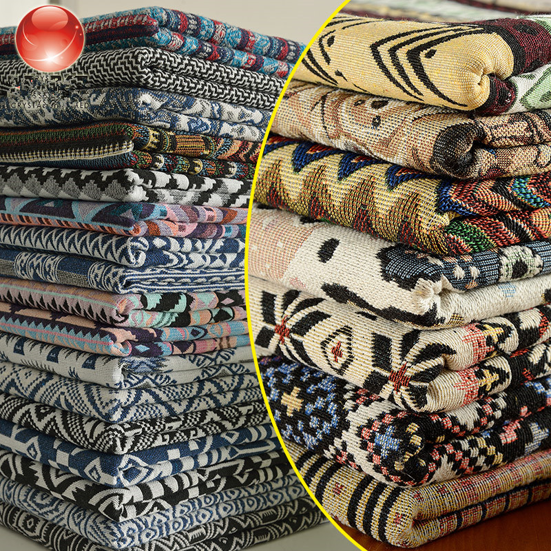 Nation Style Art Fabric Wind Cotton Linen Fabric Chevron Stripe