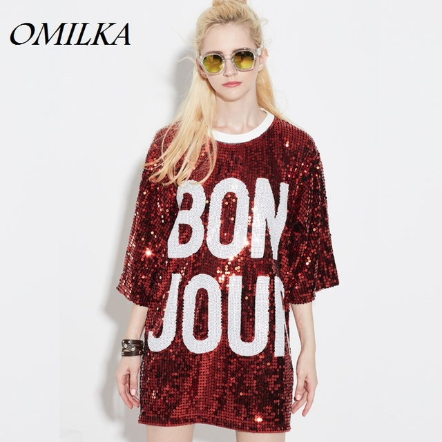 OMILKA 2017 Spring Women Three Quarter Letter Printed Baseball Long Sequined  T Shirt Sexy Sparkling Bling Sequin Tops Camisetas ab5ba60bc584