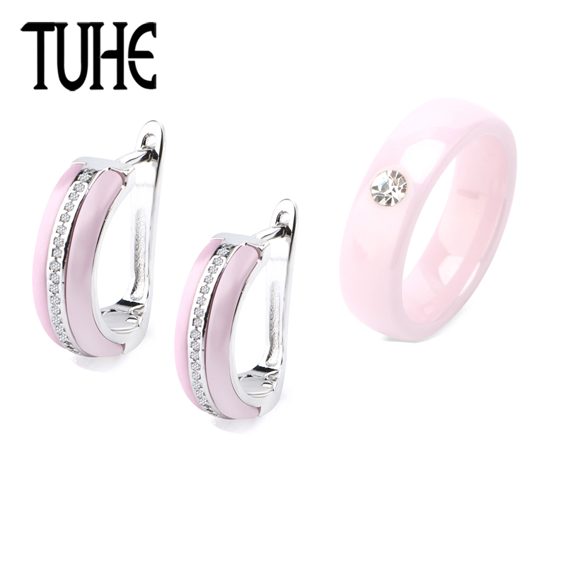 Romantic Pink Ceramic Jewelry Set U Shaped Earrings And 6MM Ceramic Ring With Single Crystal For Women Fashion Christmas Gifts