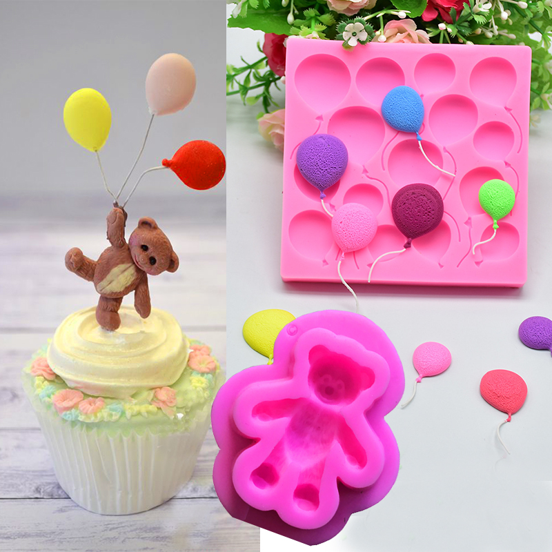2PCS DIY Balloon Bear Cake Border Birthday Fondant