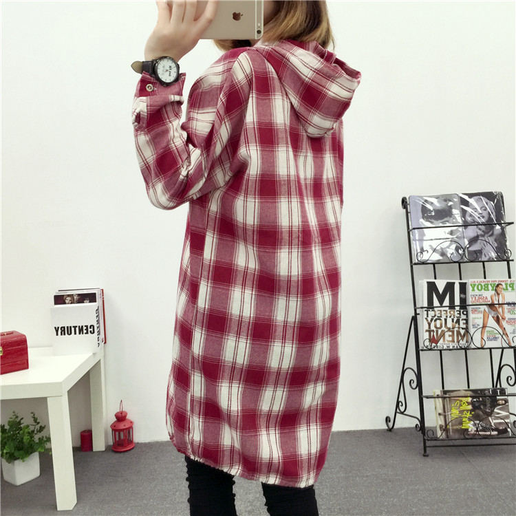 Brand Yan Qing Huan 2018 Spring Long Paragraph Large Size Plaid Shirt Fashion New Women's Casual Loose Long-sleeved Blouse Shirt 25