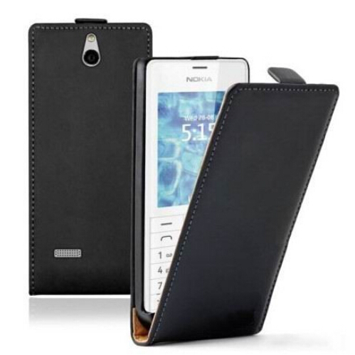 New Black Magnetic clasp Pouch Cell Phone Holster Flip Leather Back Cover Case For phone Nokia 515 / Dual SIM