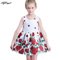 AGKupel Fashion Girls Dress Red Rose Party Summer Sundress Cotton Child Clothing Christmas Clothes For 3-9 Girl Dresses Vestidos