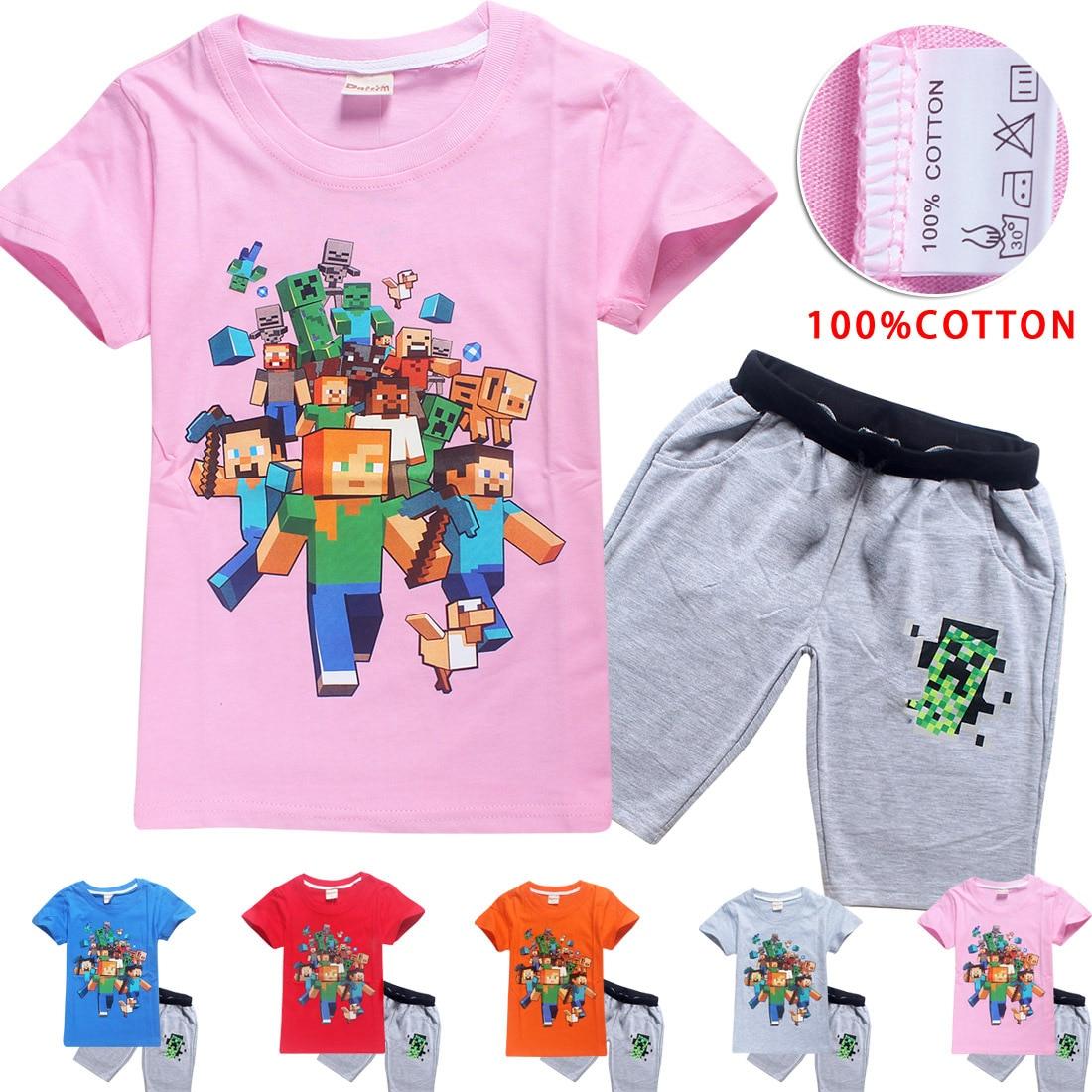 Minecraft Kids Set 100% Cotton Boys Girls Adventure Video Game Short Sleeve Shirts Our World Cartoon Tops Pants Baby Clothes Set cotton cartoon t shirts