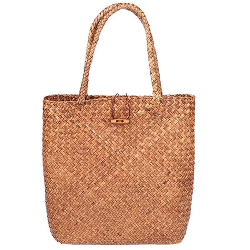 Femmes tissé à la main grand rotin paille sac fleur panier stockage fourre-tout femme sacs voyage sac à main Shopping tressé sac à main pour fille