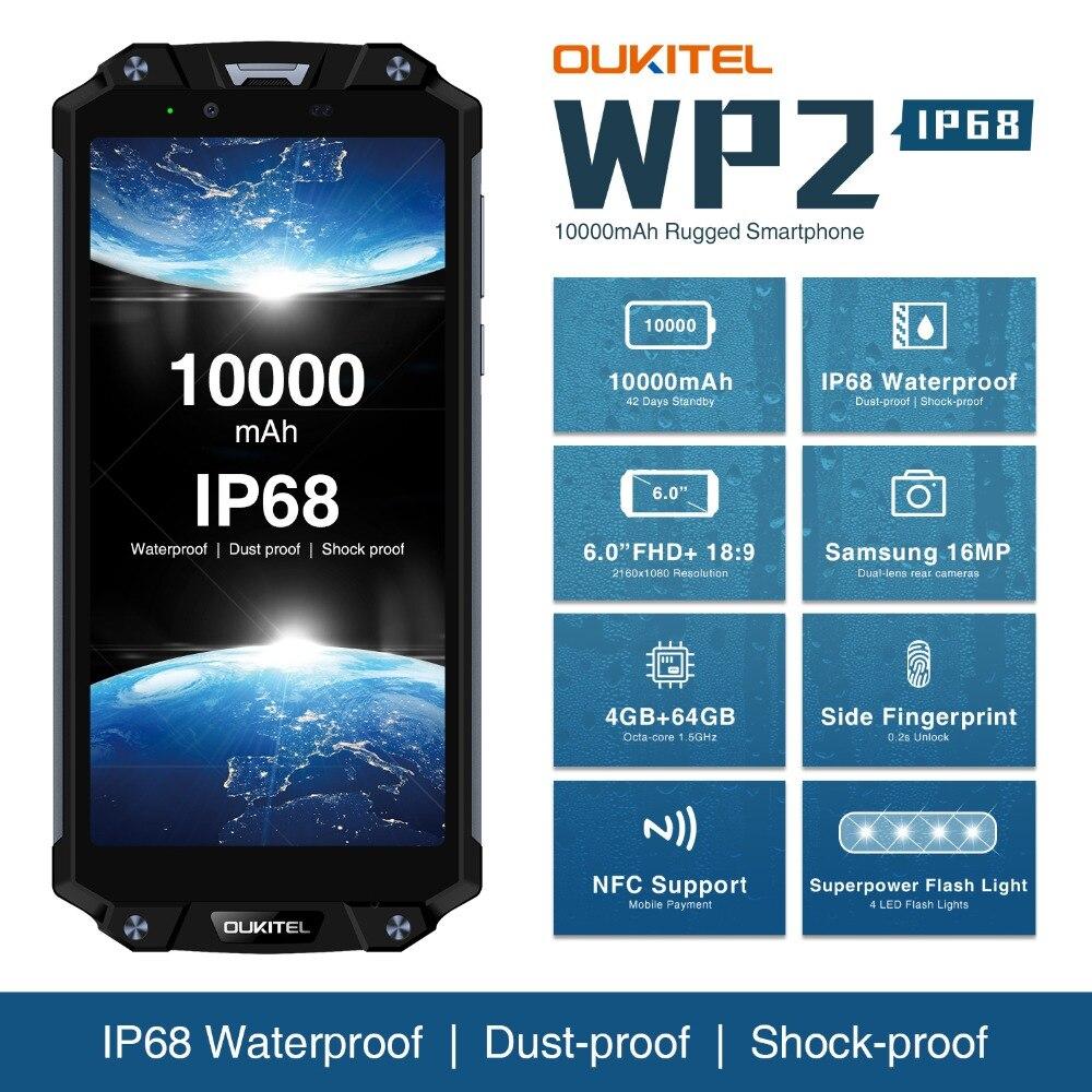 OUKITEL WP2 IP68 Waterproof NFC 4G LTE Smartphone 10000mah 4GB RAM 64GB ROM 6.0 Inch 18:9 Octa Core Fingerprint Mobile Phone