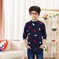2016 Nuevos Muchachos de la Llegada Del Suéter de Otoño de Manga Larga Patrón Niños Knit Tops Abrigos Casual Niños Sweaters 17 Colores 2-14 Año