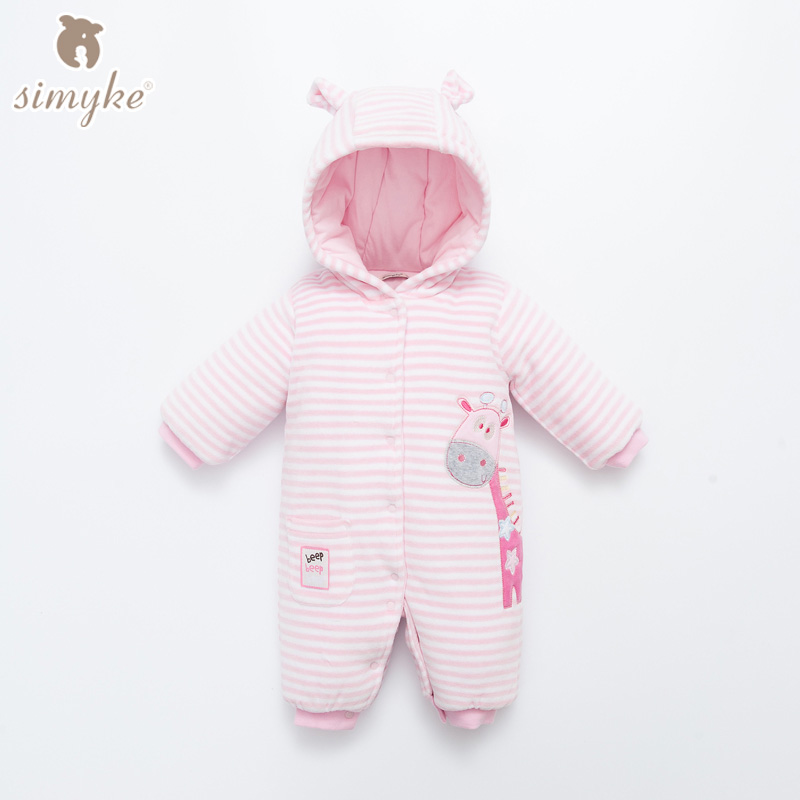Simyke Baby Winter Strip Rompers Long Sleeve Baby Girls Thick Warm Jumpsuit Infant Embroidered Romper Toddler Clothing W63131 newborn baby rompers baby clothing 100% cotton infant jumpsuit ropa bebe long sleeve girl boys rompers costumes baby romper
