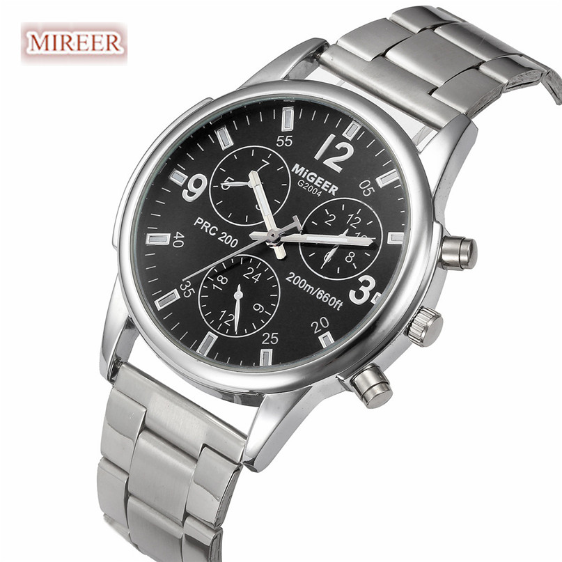 MIGEER Men watches 2017 NEW high quality brand Luxury Fashion Man Crystal Stainless Steel Analog Quartz Wrist Watch Feb2 migeer fashion man stainless steel analog quartz wrist watch men sports watches reloj de hombre 2017 20 gift