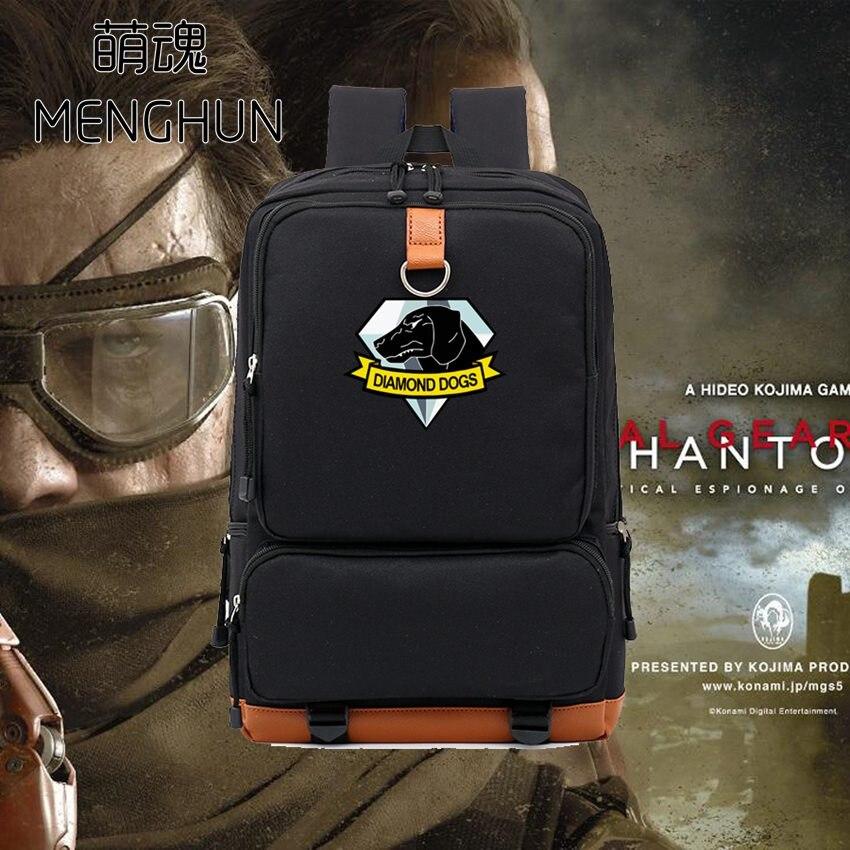 Metal Gear рюкзаки Горячая игра Metal Gear Solid diamond Dogs печати рюкзак  большой емкости игра рюкзак mgs поклонников подарок AC200 390ebf394da