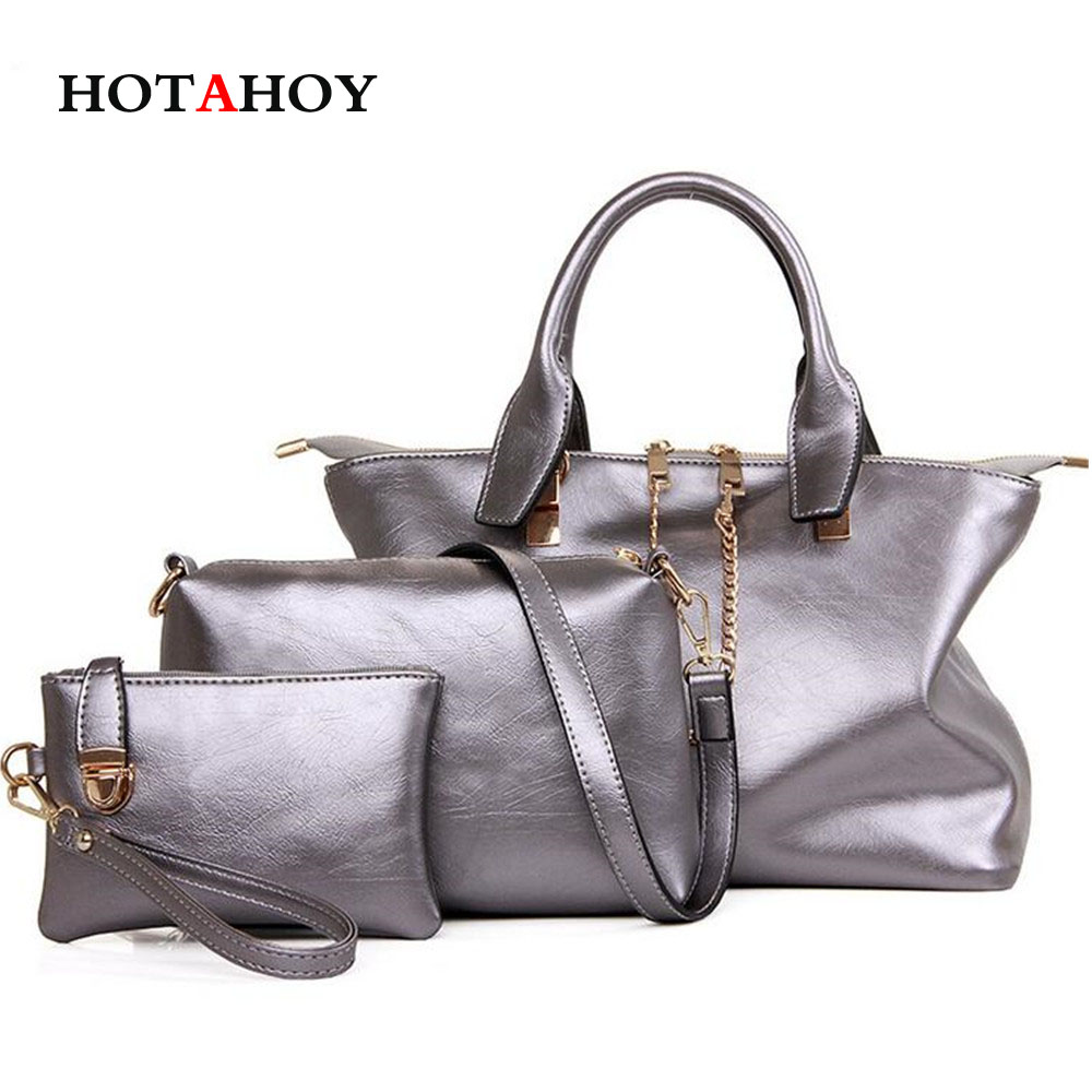 ФОТО Fashion Handbags Women Messenger Bags Female Purse Solid Shoulder Bags Office Lady Casual Tote New Top-Handle Bag 3 Pcs/Set