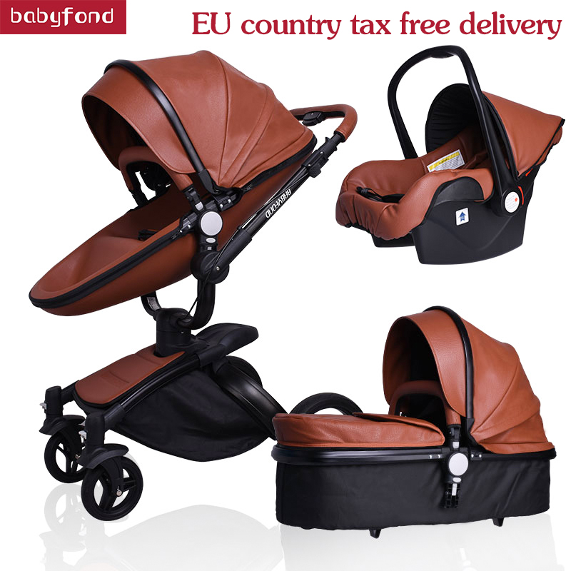 цена HK free! babyfond baby stroller leather quality 3 in 1 baby stroller black body black frame white leather baby carriage