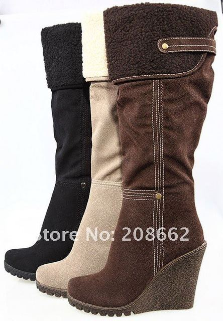 Aliexpress.com : Buy Fashion Knee High Wedge Full Size Wild Snow ...