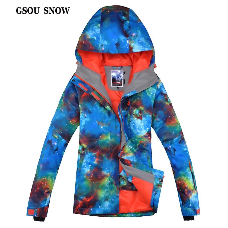 2017 Gsou Snow Female Women's Ski Jacket Outdoor Waterproof Windproof Breathable Jacket for Women Snowboard Winter Warm Coat цена