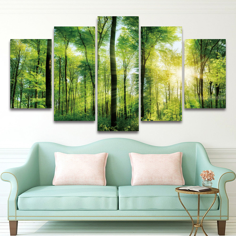 HD 5 Panel Canvas Painting Sunlight Green Tree Forest Landscape Modular Picture for Wall Art Bedroom Living Room Home Decor no frame canvas