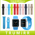 Silicone Rubber Band With Link Adapter for iWatch Apple Watch Sport Edition 38mm 42mm Watchband Strap Bracelet 1:1 as Original