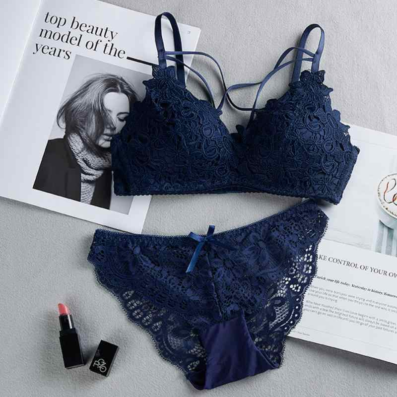 2Pcs נשים תחרה חזייה הלבשה תחתונה חזיית מקורבי תחתוני Bralette