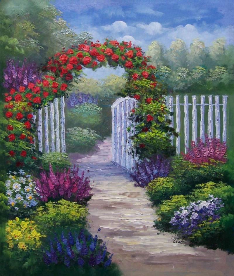 Monet Impressionism White Picket Fence handmade canvas oil