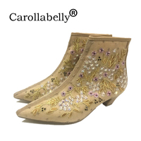 Carollabelly Mesh Embroidery Zip boots thin high heels European pointed toe women fashion wedding party ankle boots