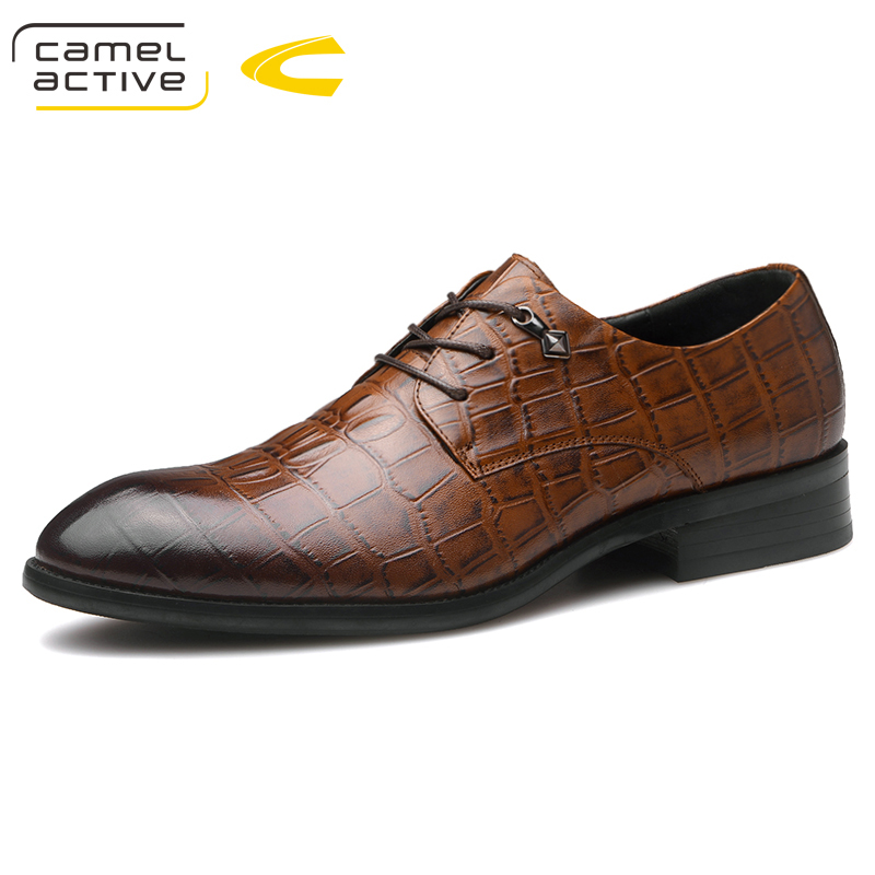 Camel Active New Spring Autumn Men Formal Wedding Shoes Genuine Cow Leather Crocodile Print Party Man Shoes Brown Dress ShoesCamel Active New Spring Autumn Men Formal Wedding Shoes Genuine Cow Leather Crocodile Print Party Man Shoes Brown Dress Shoes