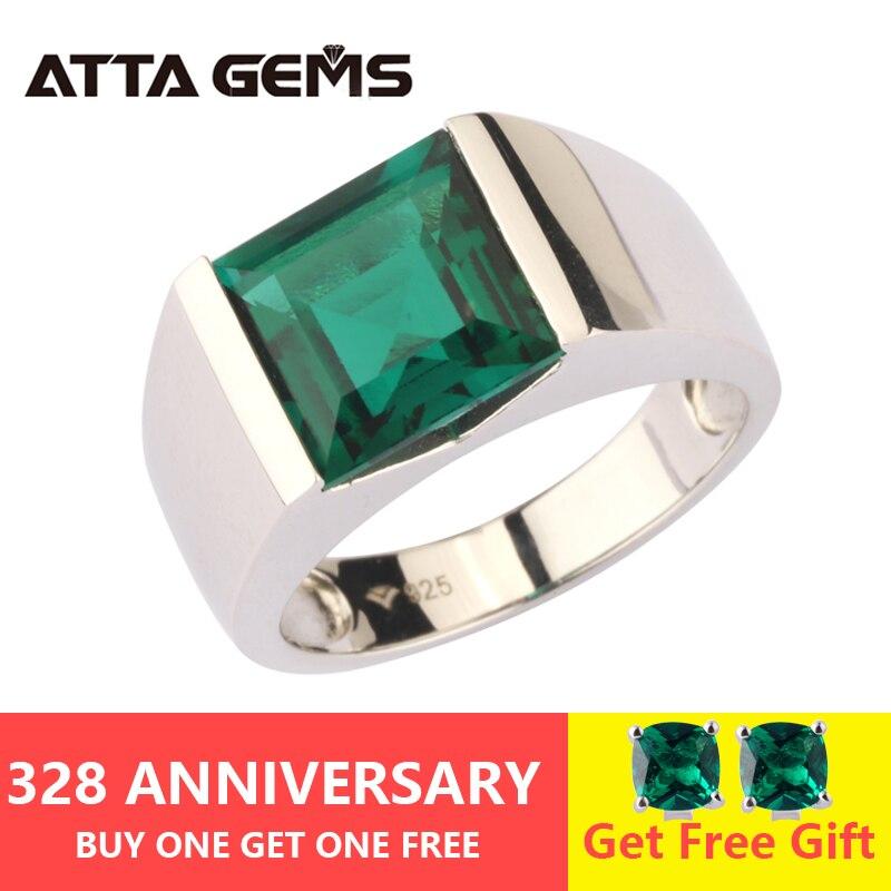 Émeraude Bague En Argent 925 Bijoux En Argent 4.8 Carats dans Carré 10mm Créé Émeraude Vert Couleur Avec Top Qualité pour Hommes