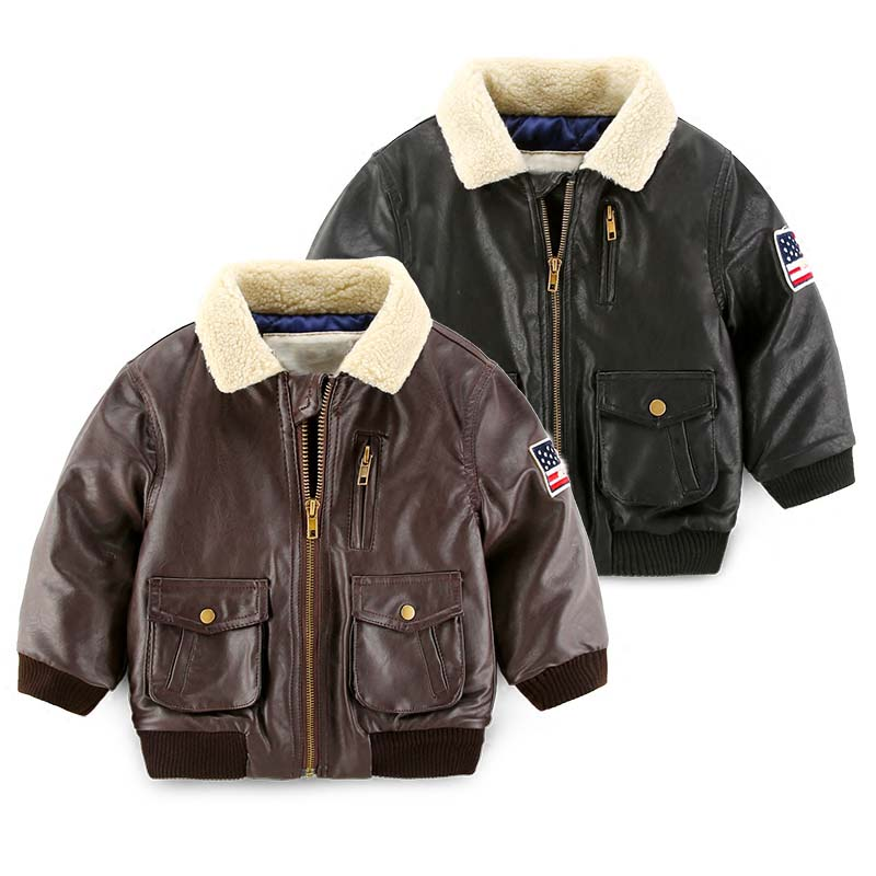 цена на girl jacket PU lether thickened cotton-padded kids clothes wholesale winter